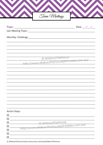 Team Meetings - direct sales planner organizer printable editable letter size a4 half size a5 filofax personalised planner