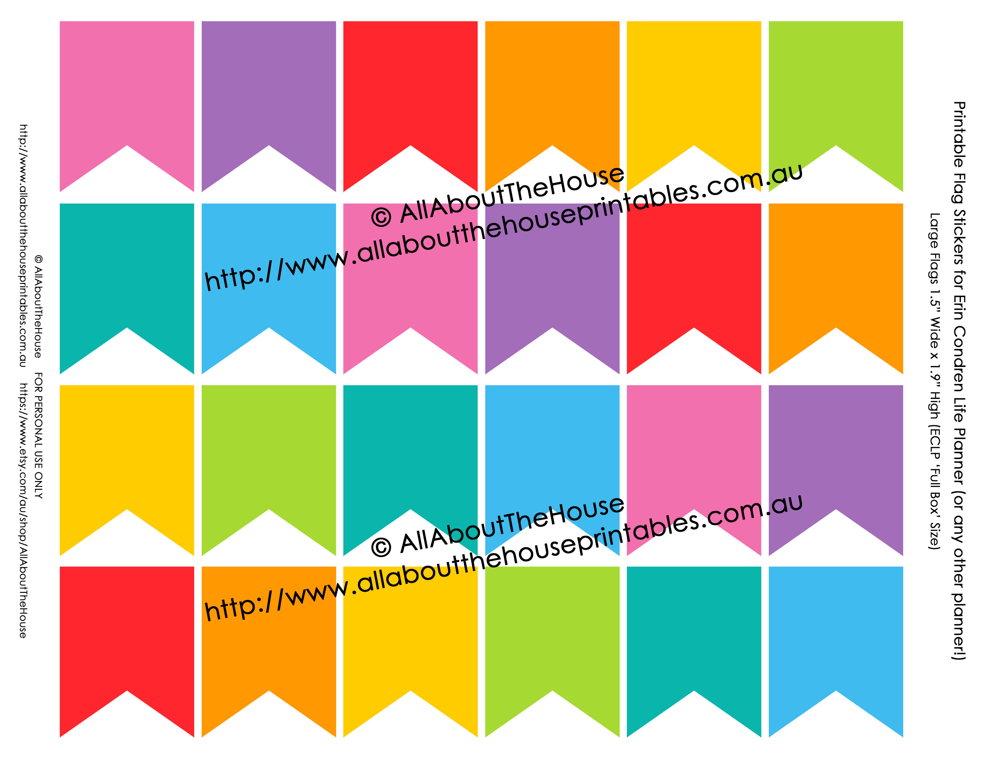 Printable Rainbow Calendar Stickers For Erin Condren Planner Or Any Type Of Planner