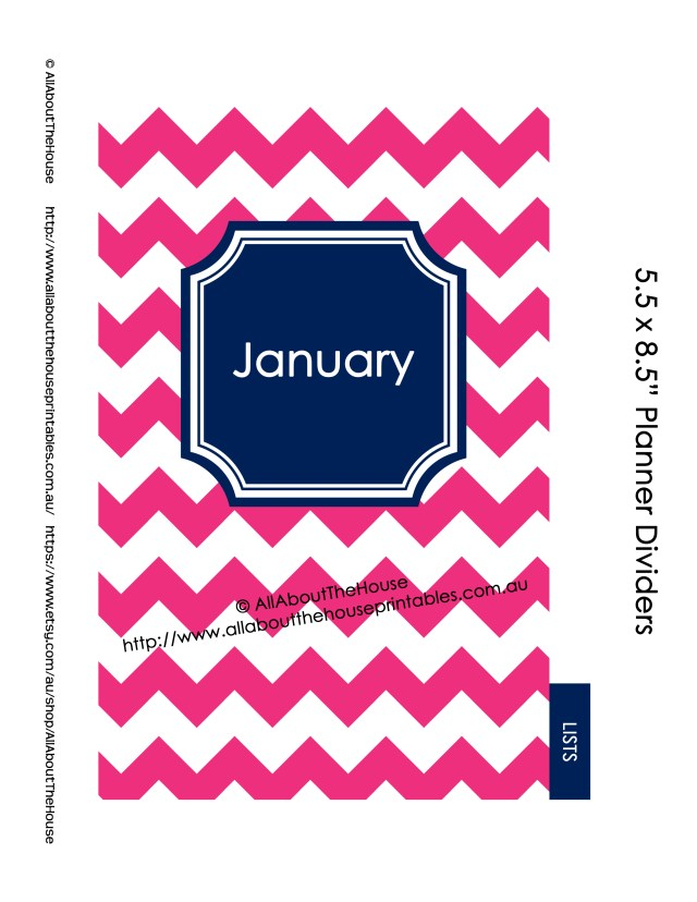 Half Size Planner Dividers Template - Customised example chevron navy pink