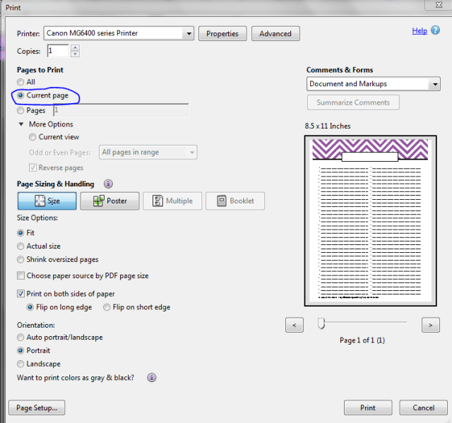 Printing 1 page of a 2 or more page pdf printing instructions option 2