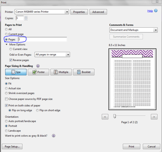 Printing 1 page of a 2 or more page pdf printing instructions step 1