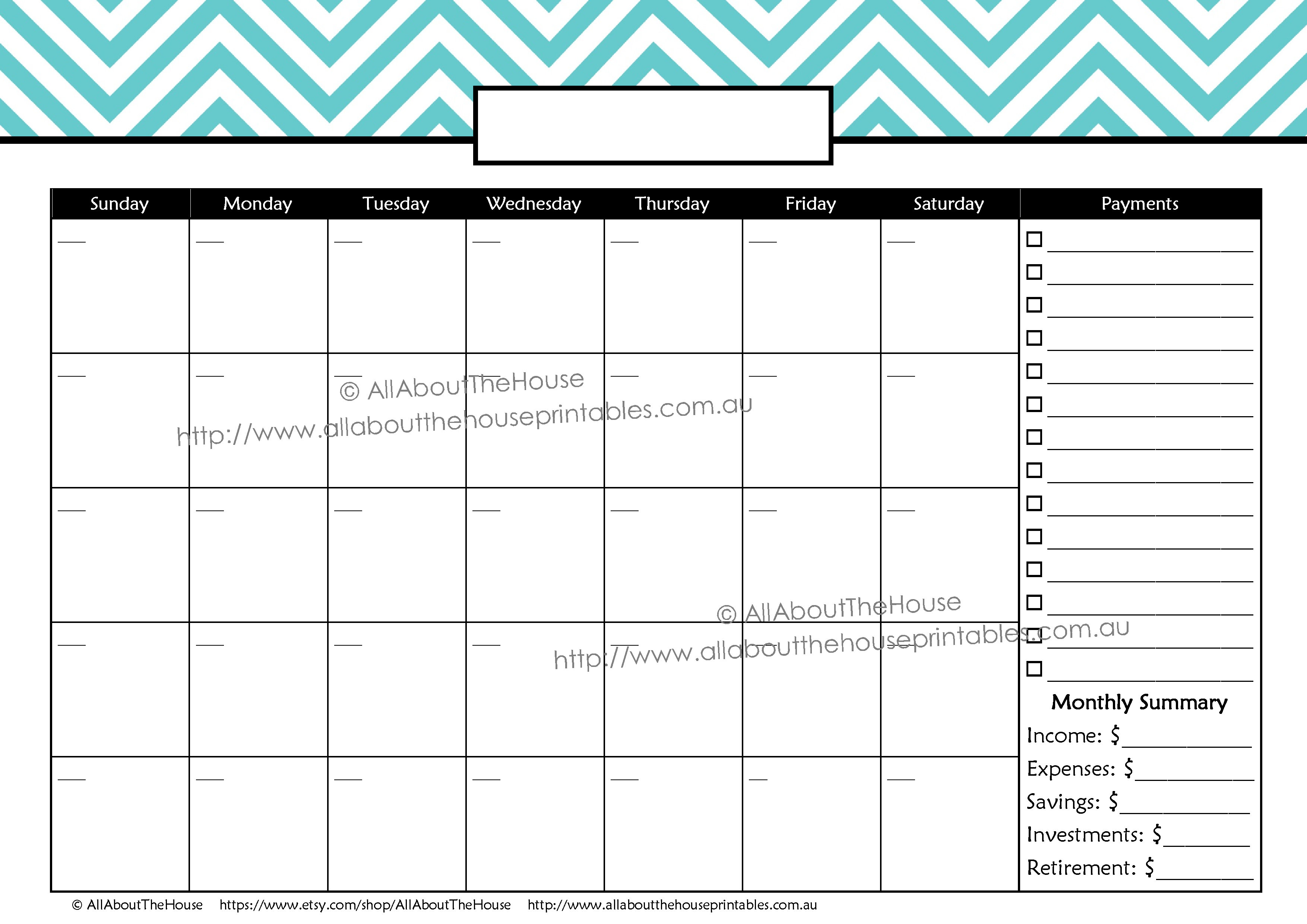 Money Tracker Printable