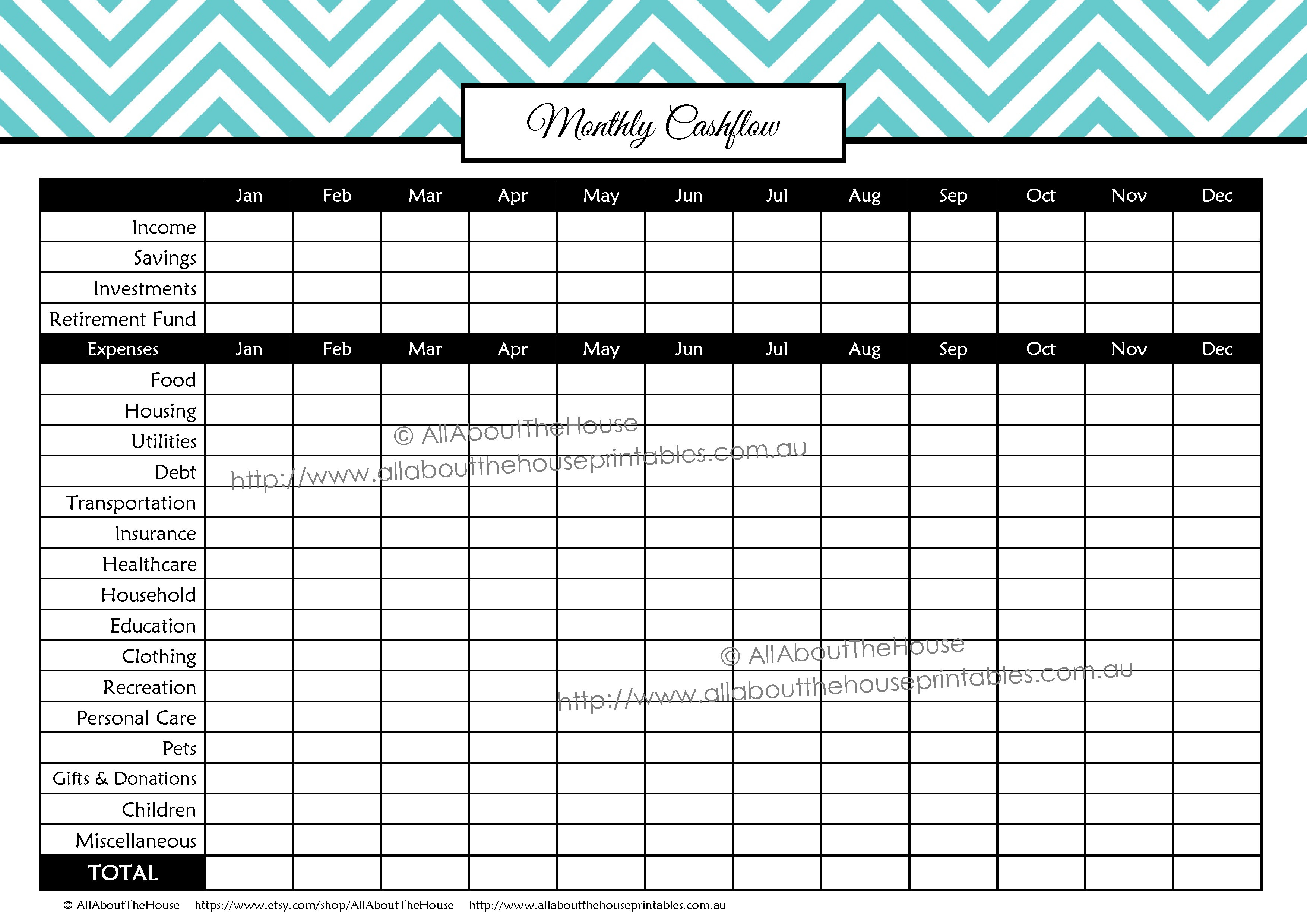 Monthly Spending Summary Budget Binder Planner Printable