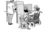 Drawing of a person in a wheelchair using an ATM machine.