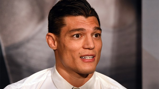 LOS ANGELES, CA - FEBRUARY 25:  Alan Jouban interacts with media during the UFC 184 Ultimate Media Day at Club Nokia on February 25, 2015 in Los Angeles, California. (Photo by Josh Hedges/Zuffa LLC/Zuffa LLC via Getty Images)