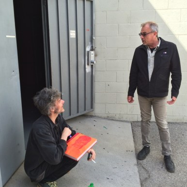 Bob, owner of Mates, giving Pete, on a break from writing BRMC's next record, (also clients of Mates) a David Bowie book today, who has rehearsed at Mates back in the day- RIP. Pic taken 3-30-2016. (This pic is only posted as an inside joke for reference)