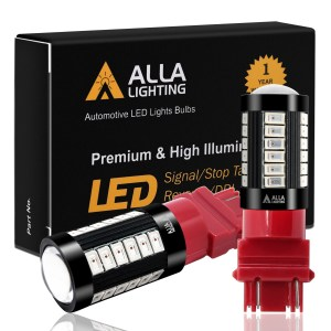 Alla Lighting Super Bright T25 3156 3157 3057 4157 4057 LED Red Brake Stop Signal Lights