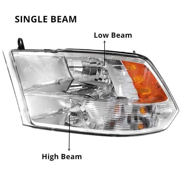 Dodge Ram 1500 2500 3500 Pick Up Truck Headlight Assembly High Low Beam