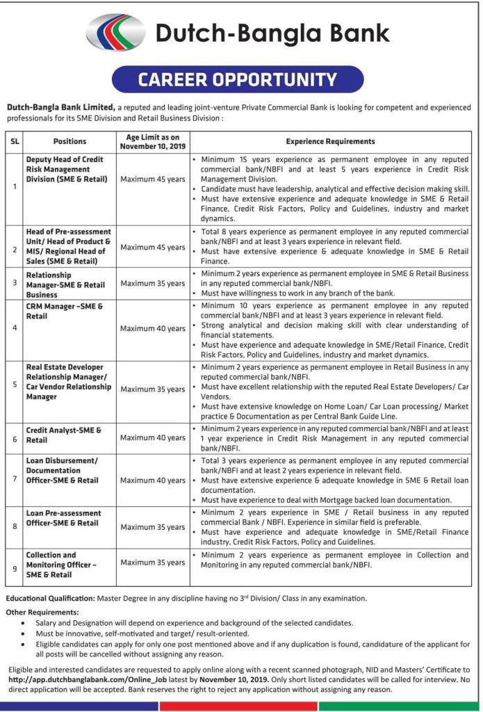 Dutch Bangla Bank Ltd. Job Circular 2019