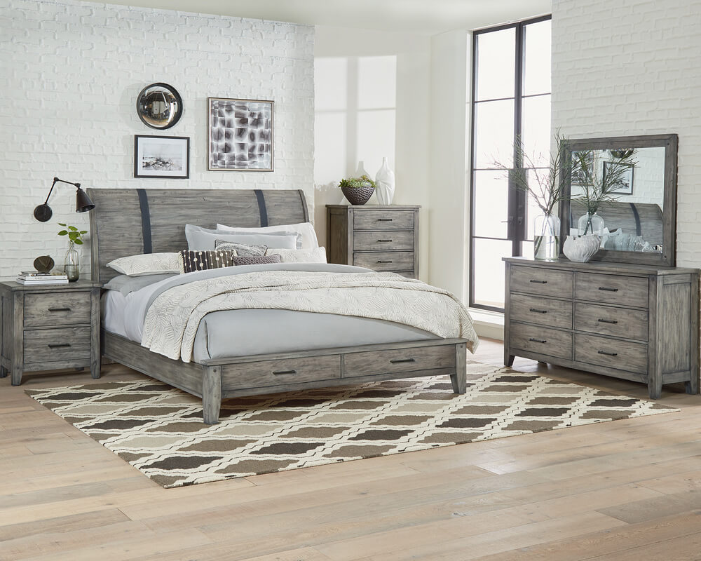 Nelson Grey Bedroom Collection Queen or King Storage Bed