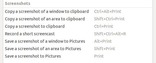 Default Ubuntu screenshot keybindings
