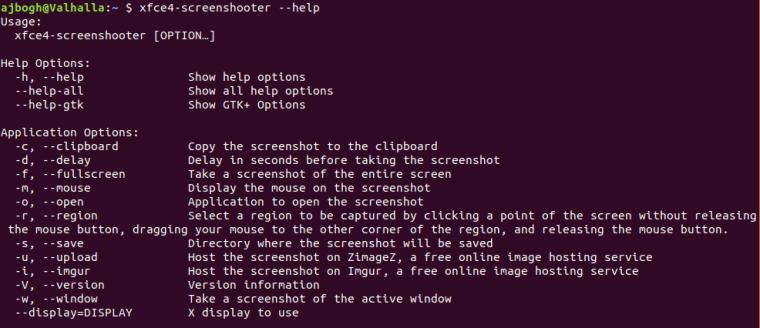 xfce4-screenshooter Help Screen
