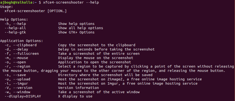xfce4-screenshooter Help Screen