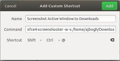 Screenshot Active Window to Downloads