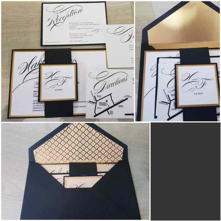 Black & Gold enveloped invitation