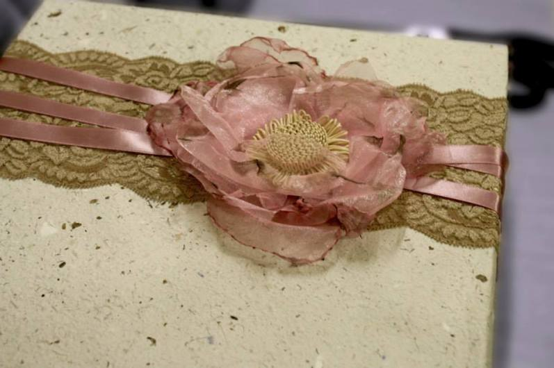 Handmade gift box containing wedding invitation & gift.