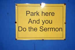 A frustrated priest tired of being late for his own services. (Allan Lynch Photo)