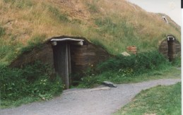 The low door to one of the replica earthen lodges of the Vikings. (Allan Lynch Photo)