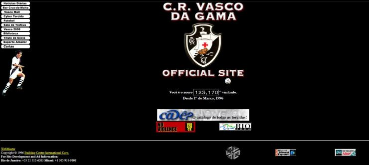 Site oficial do Vasco em 1997