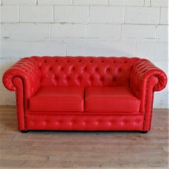 Faux Leather Chesterfield Sofa Wooden Bed With Storage Sold Red 3012 Allard