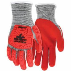 """127-UT1954M UT1954 UltraTechâ""""¢ A5/Impact Level 1 Mechani Knit Glove, Medium, Salt/Pepper; Red"""