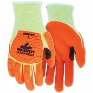 "127-UT1955M UT1955 UltraTechâ""¢ A5/Impact Level 1 Mechani Knit Glove, Medium, Hi-Viz Lime; Orange"