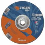 804-58072 Tiger® Zirc Grinding Wheel, 5 x 1/4 in, 5/8 in-11 Arbor, Type 27, A24R