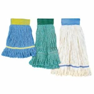 871-503BL Super Loop Mop Hds, Large, 4-Ply Cotton/Synthetic; Vinyl Mesh Hdband, Blue