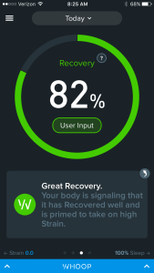 daily whoop recovery score