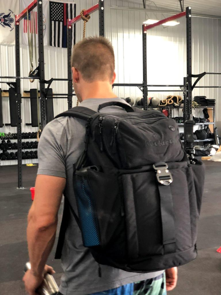 Joe Bauer wearing the King Kong Backpack II in the gym