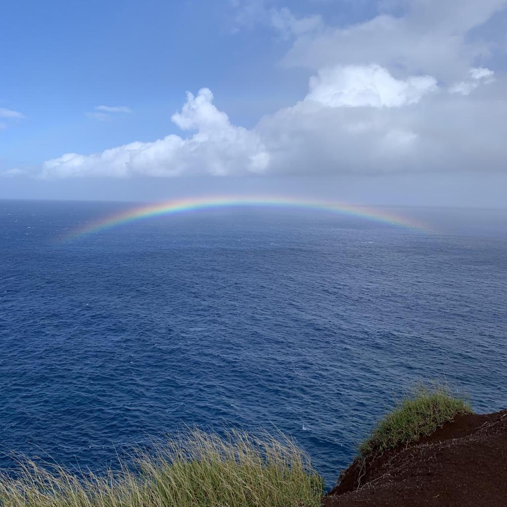 Amazing Napali Coast Rainbow over the ocean