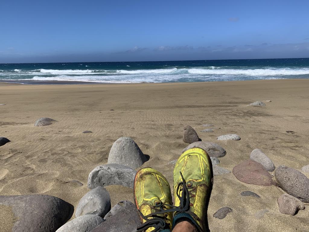 Feet up at Napali Coast beach, we made it!