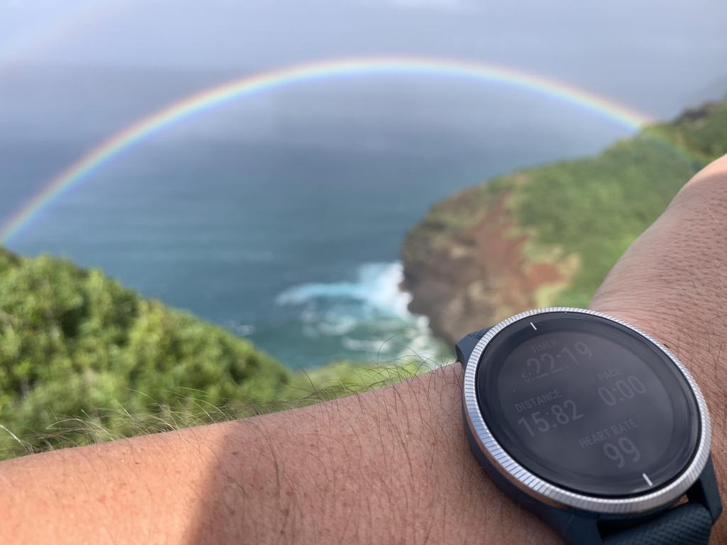 Garmin Venu with rainbow on the Napali Coast