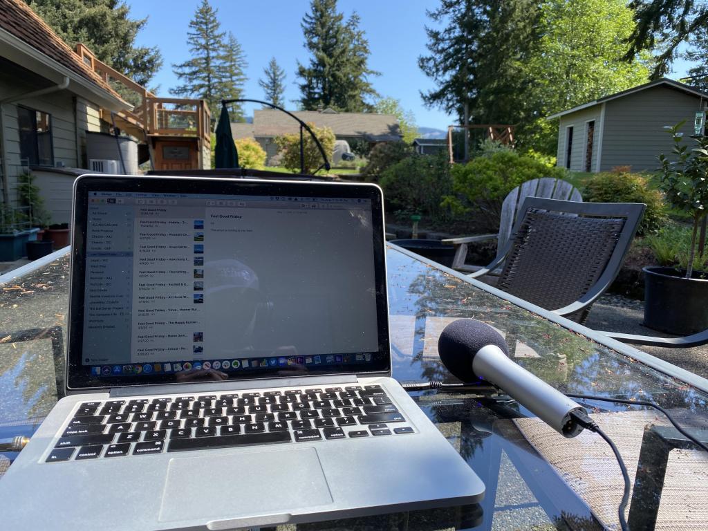 Joe's work location while writing Feel Good Friday