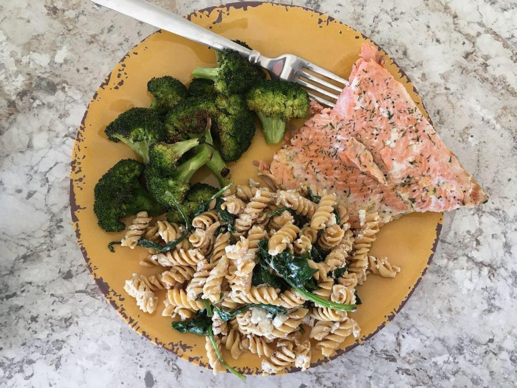 Salmon and chick pea pasta