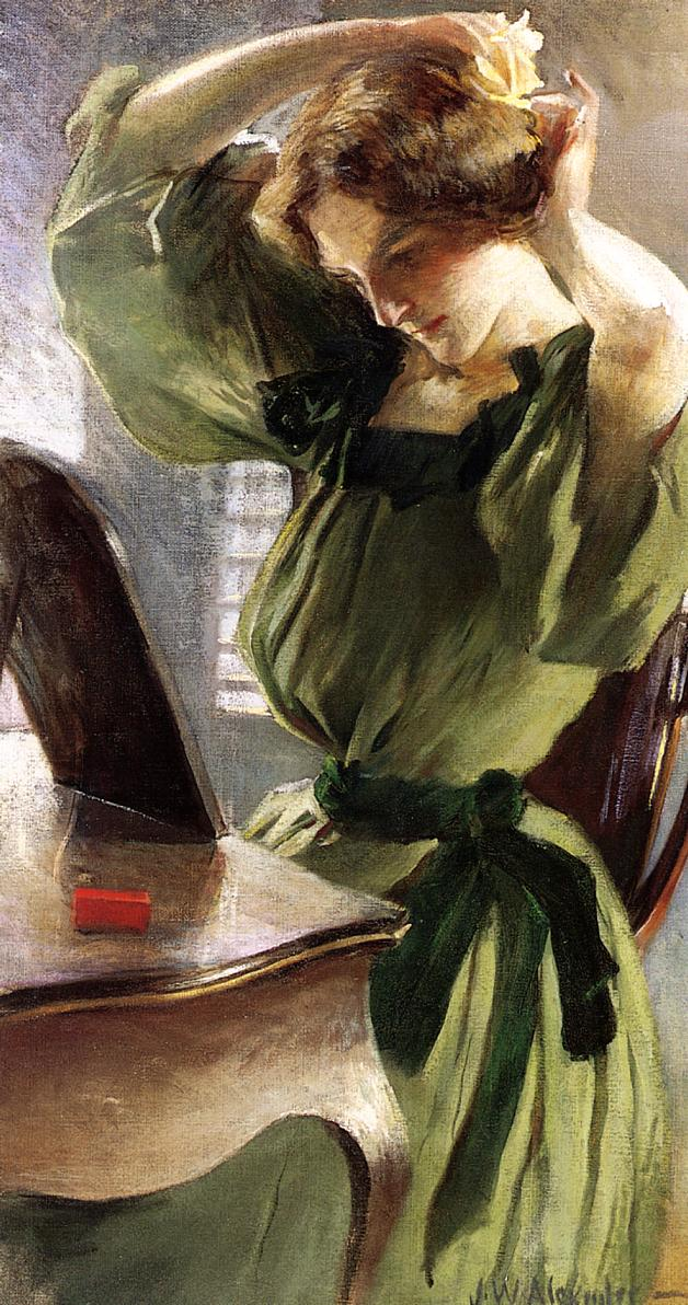 John White Alexander (1856-1915)  Young Woman Arranging Her Hair  Oil on canvas  Public collection