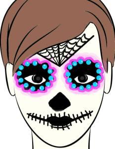スカルメイク(メキシコ流)おでこに蜘蛛の巣