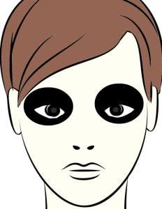 黒く塗りつぶした目