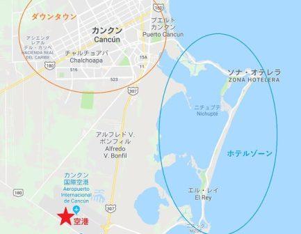 カンクンの空港の位置マップ