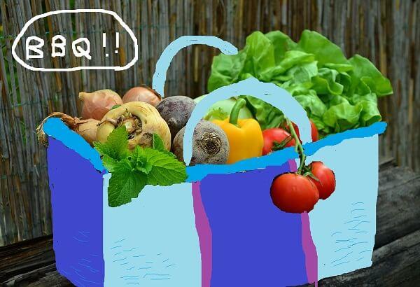 野菜をたっぷり詰め込んだかご