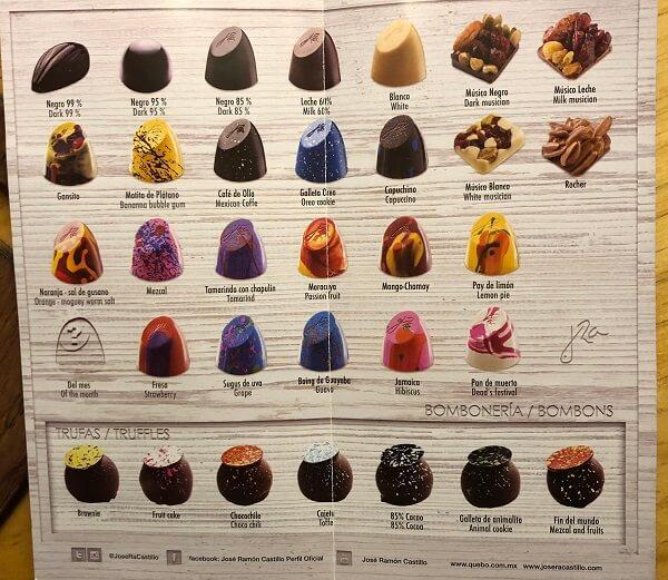 Que Bo!のチョコレートのメニュー