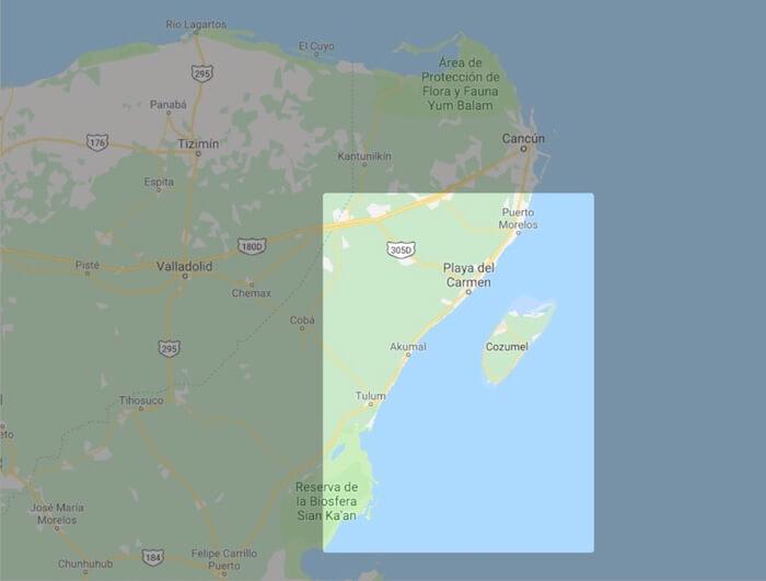 リビエラマヤのマップ(範囲)