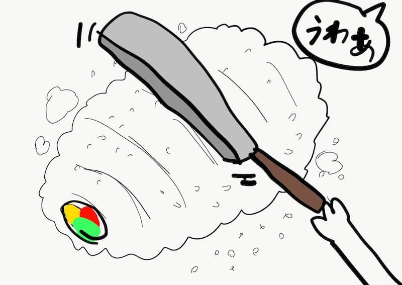 潰れた巻き寿司