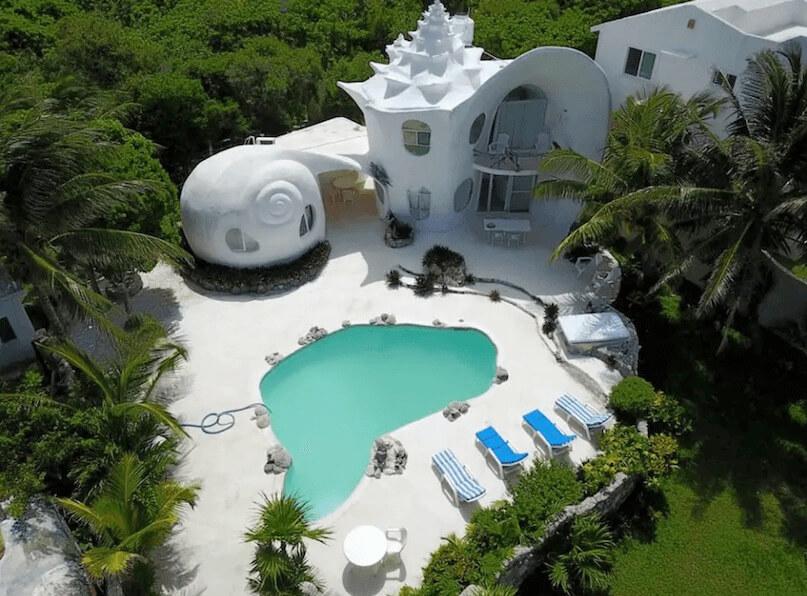 メキシコ、イスラムへーレス島のシェルハウス(貝殻の家)の外見4