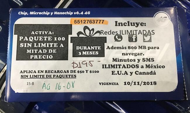 メキシコのSIMカード(TELCEL)3