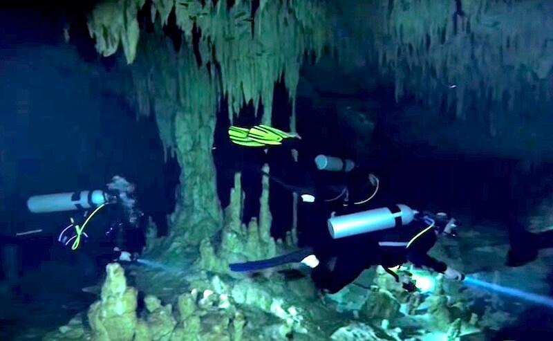 鍾乳洞いっぱいのセノーテでダイビング