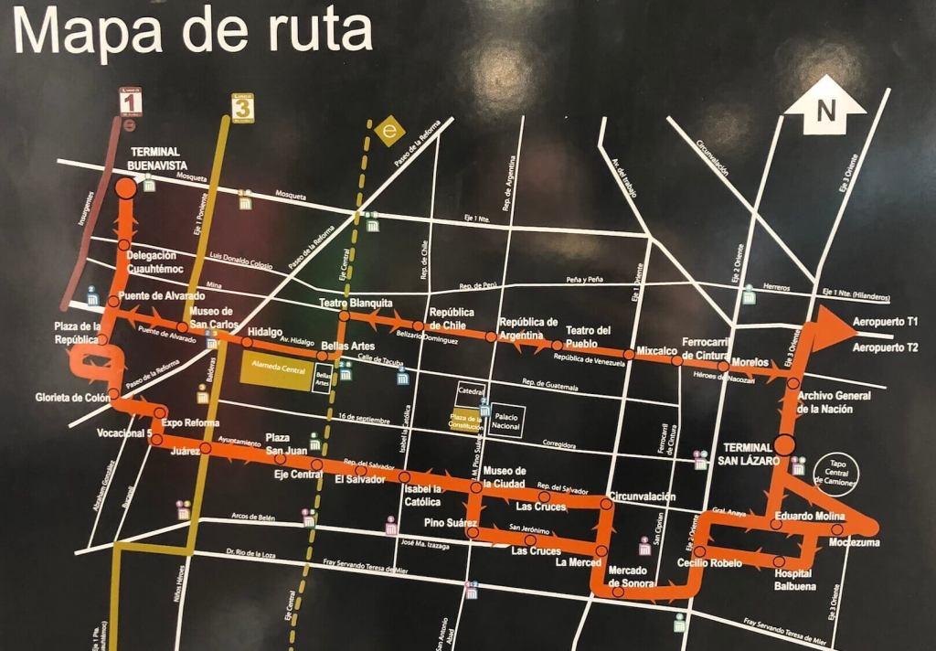 メキシコシティの空港メトロバスのルートマップ