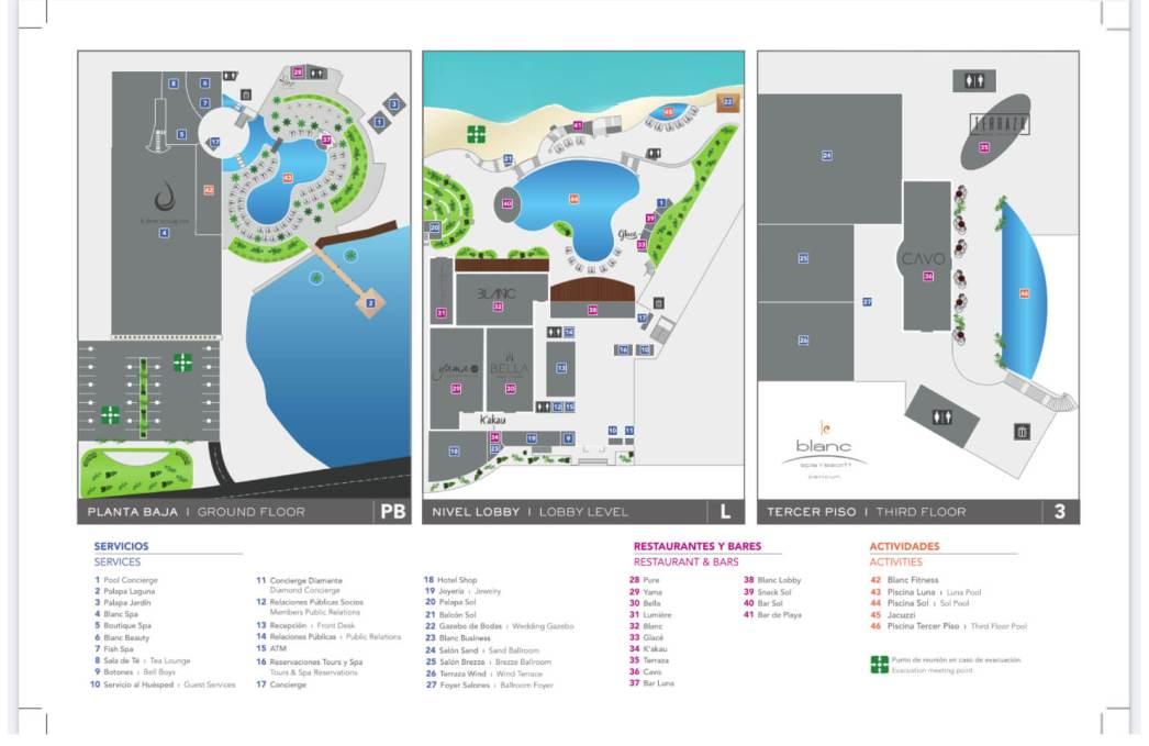 Le Blanc Spa Resort All Inclusive Resort Map