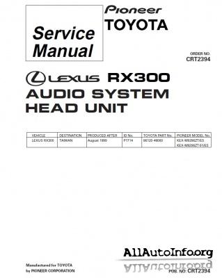 Сервис мануалы штатных автомагнитол Lexus Audio
