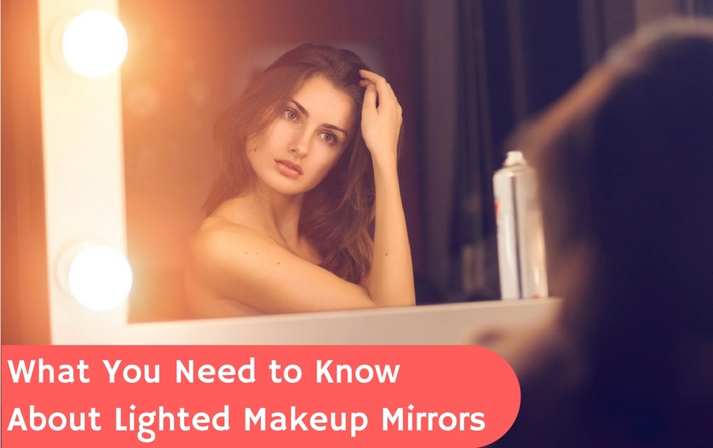 woman using lighted mirror to apply cosmetics perfectly